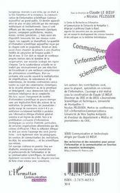 Communiquer l'information scientifique - ethique du journalisme et strategies des organisations - 4ème de couverture - Format classique