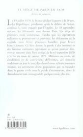 Le Siege De Paris En 1870. Recits De Temoins - 4ème de couverture - Format classique