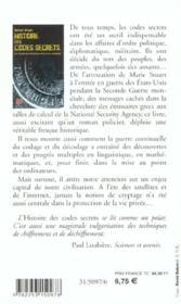 Histoire des codes secrets ; de l'Egypte des pharaons à l'ordinateur quantique - 4ème de couverture - Format classique