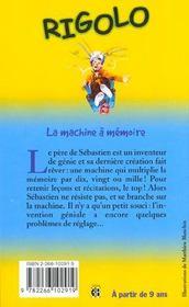 Rigolo T.24 ; La Machine A Memoire - 4ème de couverture - Format classique