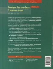 Enseigner dans une classe à plusieurs niveaux ; cycle 2 et 3 - 4ème de couverture - Format classique