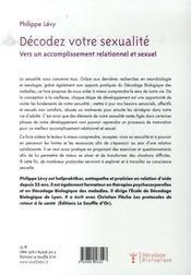 Décodez votre sexualité ; vers un accomplissement relationnel et sexuel - 4ème de couverture - Format classique