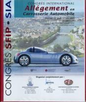Allegement en carrosserie automobile congres international sfip les 12 et 13 juin 2002 parc des expo - Couverture - Format classique