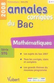 Annales Corrigees T.12 ; Mathématiques ; Terminale Stg (Edition 2008) - Intérieur - Format classique