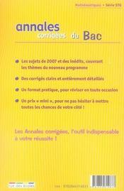 Annales Corrigees T.12 ; Mathématiques ; Terminale Stg (Edition 2008) - 4ème de couverture - Format classique