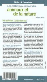 100 Metiers Au Contact Des Animaux Et De La Nature - 4ème de couverture - Format classique