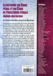 La réforme du code pénal et du code de procédure pénale ; opinio doctorum - 4ème de couverture - Format classique