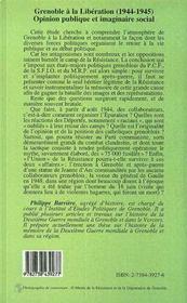 Grenoble A La Liberation - 4ème de couverture - Format classique