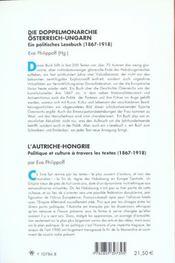 Die doppelmonarchie osterreich-ungarn ein politisches lesebuch, 1867-1918 - 4ème de couverture - Format classique