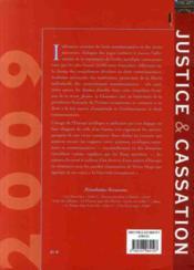 Justice et cassation 2009 - 4ème de couverture - Format classique