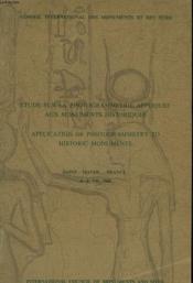 Etude Sur La Photogrammetrie Appliquee Aux Monuments Historiques - Couverture - Format classique