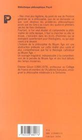 La philosophie au Moyen-âge - 4ème de couverture - Format classique