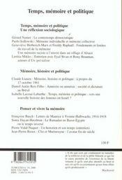 Tumultes n14 temps memoire et politique - 4ème de couverture - Format classique