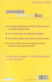 Annales Corrigees ; Mathématiques ; Terminale Sti (Edition 2008) - 4ème de couverture - Format classique