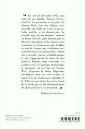 La vision tragique de simone weil - 4ème de couverture - Format classique