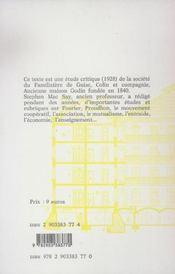 De fourier à godin ; la familistère de guise - 4ème de couverture - Format classique