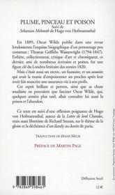 Plume, pinceau et poison ... - 4ème de couverture - Format classique
