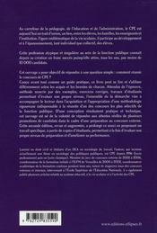 Conseiller Principal D'Education Presentation Des Concours Et Des Epreuves Methodes Nouvelle Edition - 4ème de couverture - Format classique
