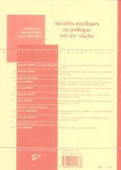Sociétés nordiques en politique, XII-XV siècles - 4ème de couverture - Format classique