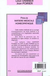 Precis De Matiere Medicale Homeopathique - 4ème de couverture - Format classique