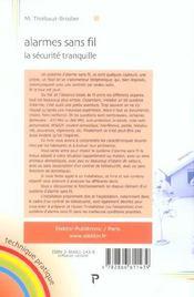 Alarmes Sans Fil, La Securite Tranquille. - 4ème de couverture - Format classique