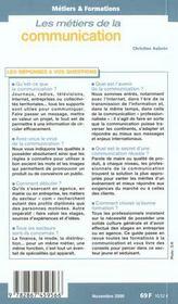 Metiers Et Formation ; De La Communication ; Edition 2000 - 4ème de couverture - Format classique