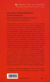 Nouveaux développements en psychanalyse ; autour de la pensée de Michel de M'Uzan - 4ème de couverture - Format classique