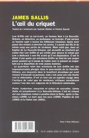 L'oeil du criquet - 4ème de couverture - Format classique
