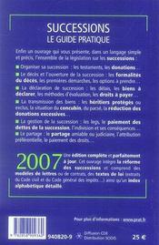Successions ; le guide pratique 2007 - 4ème de couverture - Format classique