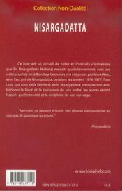 Nisargadatta, notes - 4ème de couverture - Format classique