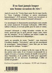 Guerre aux inventeurs et autres monologues du carnet d'Armand Lefrançois - 4ème de couverture - Format classique