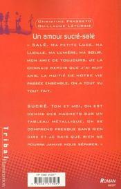 Un amour sucré salé - 4ème de couverture - Format classique