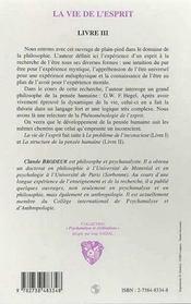 La Vie De L'Esprit - 4ème de couverture - Format classique