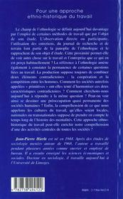 Pour Une Approche Ethno-Historique Du Travail - 4ème de couverture - Format classique