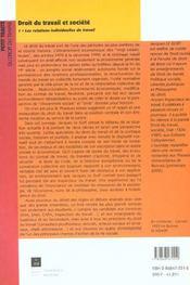 Droit du travail et société t.1 ; les relations individuelles de travail - 4ème de couverture - Format classique