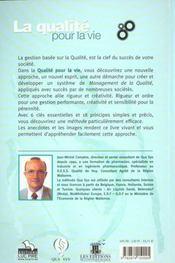 La Qualite Pour La Vie - 4ème de couverture - Format classique