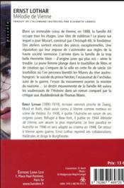 Mélodie de Vienne - 4ème de couverture - Format classique