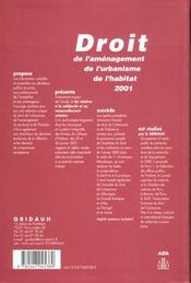Droit de l'amenagement, de l'urbanisme, de l'habitat 2001- n 5 - 1ere ed. - 4ème de couverture - Format classique