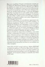 Derive Des Moderes (La) Federation Republicaine Du Rho - 4ème de couverture - Format classique