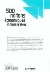 500 Notions Economiques Indispensables - 4ème de couverture - Format classique