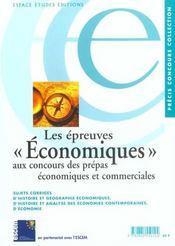 Epreuves Economiques Concours Prepas Economiques Et Commerciales - Intérieur - Format classique
