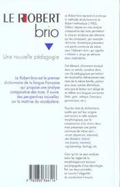 Le Robert Brio, Analyse Comparative Des Mots - 4ème de couverture - Format classique