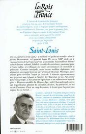 Les rois qui ont fait la France ; les Capétiens ; Saint Louis - 4ème de couverture - Format classique