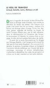 Le reel de traviole artaud, bataille, leiris, michaux et alii - 4ème de couverture - Format classique