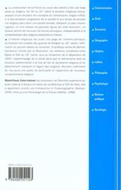 Histoire des religions en france - 16e-20e siecles - 4ème de couverture - Format classique