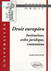 Droit européen, institutions, ordre juridique, contentieux - Intérieur - Format classique