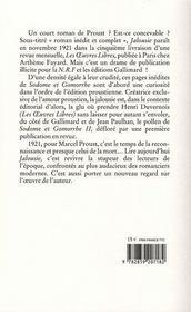 Jalousie - 4ème de couverture - Format classique