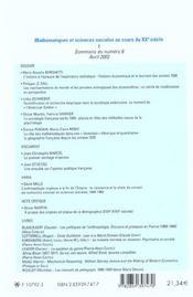 REVUE D'HISTOIRE DES SCIENCES HUMAINES N.6 ; mathématiques et sciences sociales - 4ème de couverture - Format classique