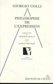 Philosophie De L'Expression - Couverture - Format classique