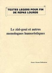 Le zizi-goui et autres monologues humoristiques - Intérieur - Format classique